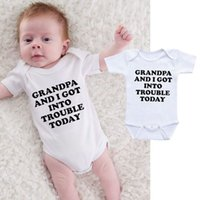 Funny Baby Onesie Body Infant Newborn GRANDPA AND I IN TO TROUBLE print Cotton Baby boy Girl clothes 2019 Summer Cheap Wholesale