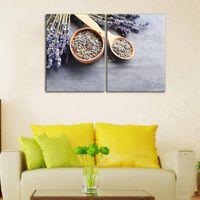 Безрамное 2 шт./Комплект живопись лаванда сухоцветы семена цветок холст стены искусства печать плакат столовая декор HD печать