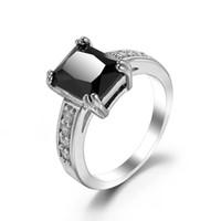 Großhandel 6 PC Luckyshine Mischungs-Farben-Art- und Weisefrauen-925 silberne Ring-Quadrat-Zirkonia-Kristallringe reines handgemachtes freies Verschiffen