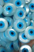 hakiki Sedef Kabuk Evil Eye cabochon, yuvarlak disk sikke Boncuk, DIY Takı Malzemeleri Eearrings Of Geniş 20mm-4mm 20pcs