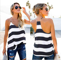Sexy réservoir Femmes Top Summer Fashion V Neck Backless rayé Camisole Tanks Womens Designer camisoles T-shirts