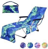 Chaise de plage Couvrir avec poches latérales Tie-Dye protable Lounge Chaise Microfibre Chaise serviette Couverture pour Sun Lounger Piscine Bain de soleil Jardin