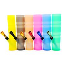 Hot Sell Vendre 198mm Portable Incédrable Eau Bongs Coloré Silicone Fumeurs Tuyaux d'eau pliante Bong Mélanger Tuyau d'eau de fumer
