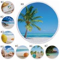 Yuvarlak Plaj Havlusu Ananas Baskılı Yüzme Havlu Polyester Banyo Havlu Kadınlar Şal Çocuk Paymat Piknik Kilimler Dekor 27 CYL-YW1061 Tasarımları