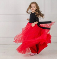 Nuovo Black and Red Princess Pantaganda Pizzo Tulle Flower Girl Dress Bambini Party Birthday Prom Bambini Ball Gown GNA24