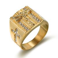 Cross Bague Acier inoxydable pour hommes Prière Gold Color Anneaux Mâle Cool Fashion Religion Bijoux