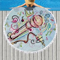 Microphone Note Printed Microfiber Round Beach Towel Bath To...