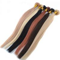 """Länge 20"""" 100g 1g / s customed Farben Italienisch Keratinkleber U-Spitze-Haar Pre gebunden Haar-Verlängerungen INDIAN REMY HAAR, schnelle Lieferung"""