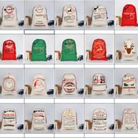Sacs cadeaux de décorations de Noël Grand sac de toile de cordon Sac de Santa Sac bio Sac avec Rennes Santa Claus 50 * 70cm 20 Styles XD20219