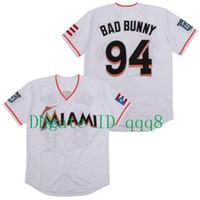 Qualité supérieure ! Maimi Bad Bunny Jersey Baseball Blanc avec pavillon Puerto Rico Taille de chemise cousue complète S-4XL