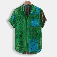 Respirant haute qualité d'été Hommes Mode vintage ethnique feuillettent col vers le bas à manches courtes Casual 2020 Shirt pour hommes