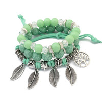 Retro Life tree Leaf Multi- layer Bracelet girls Handmade Gla...