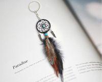 Mini Dreamcatcher Keychain Hanging Handmade Vintage Enchanted Forest Dream Catcher netto con la piuma Ornament Decoration