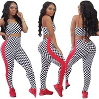 Mode de remise en forme Plaid Survêtement femmes deux pièces Set Sexy Spaghetti Strap Crop Top Crayon Pantalons Leggings Set Bodycon Suit Slim