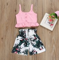 2019 SUMMER childen clothing suits baby girlS maple flamingo...