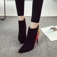YOUYEDIAN Mixed Colors Thin Ankle Boots For Fashion High Hee...
