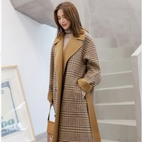Herbst-Winter-Frauen Plaid Mantel Mode langer Wollmantel lose Wolle-Mischungen Damen Jacken Outwear elegante lange Overcoat