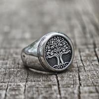 EYHIMD серебро Нержавеющая сталь Дерево Жизни Перстень Классические Мужчины Viking Amulet Кольца Nordic Jewelry