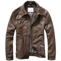 New Genuine Leather Jacket Mens Cow Leather Lapel Slim Fit B...