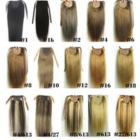 16-28 inches Ribbon Ponytail Horsetail 100g Clips in on 100% Brazilian Remy Human hair Extension Natural Straight