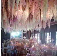 등나무를 들어 크리스마스 파티 장식 HH7-299 매달려 새로운 인공 꽃 웨딩 장식 등나무 꽃 덩굴 홈 정원 벽
