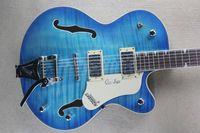 مخصص بالجملة الأزرق النمر نمط نصف جوف الجاز الجاز الغيتار الكهربائي مع خدمة مخصصة
