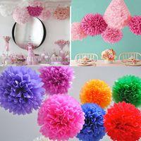 Coloré Papier De Soie Fleur Boule De Papier Tissu Pom Poms Pour Le Mariage Anniversaire De Noël Fête Des Mères Parti Décoration RRA1800