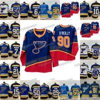 90 Ryan O'Reilly 2019-20 St. Louis 90s aposentado 91 Vladimir Tarasenko Binnington Vince Dunn Brayden Schenn Tyler Bozak Steen Hóquei Jersey