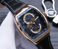 Nova Saratoge Vanguard S6 Yachting V45 S6 YACHT Rose Gold Caso Skeleton Dial Automático Azul Interior Mens Watch Couro / Relógios De Borracha De 7 Cores.