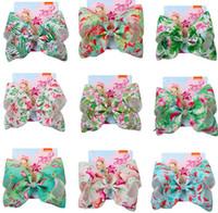 """Venda quente 8 """"Jojo Arcos para meninas Jojo Siwa Grande Flamingo Impresso Cabelos Arcos para Meninas Com Clipes Bowknot Acessórios Handmade Handmade 12 Pcs /"""