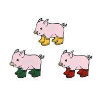 الخنزير في المطر أحذية الكرتون بروش الخنزير الوردي بالتنقيط شارة المينا الصلبة دبوس مجموعة زر الياقة ديكور حقيبة أطفال سترة الدينيم القبعة ملحقات