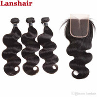 Бразильские пакеты волос с закрытием с 3 связки прямые индийские волосы девственницы плетены индийские человеческие волосы 4x4 кружевные замыкания тела