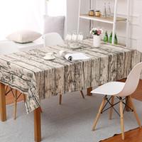 Mutfak Masa Dekorasyon 90x90 cm için Keten Masa Örtüsü Ağaç Damarı dikdörtgen tablecover Pamuk Dikdörtgen Yıkanabilir Ahşap baskı Masa örtüsü