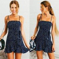 Trendy Sommer-Frauen-Kleid weg von der Schulter-Rüsche-Strand-Tupfen-beiläufige sleeveless Partei Polyester Minikleider eines Stück