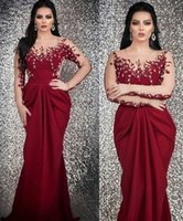 Burgundy Mermaid Sexy Arabic 2019 Evening Dresses Sheer Neck...