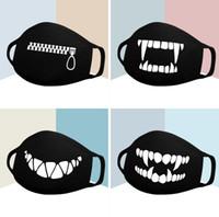Mask Cotone polvere nera fumetto Espressione Denti muffola faccia respiratore Anti Kpop Orso Bocca della mascherina del cotone del fronte mezzo di protezione in bicicletta