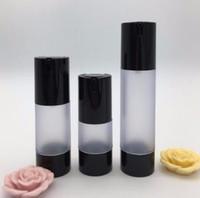 Wholesale nouvelle bouteille de pompe sans air noir 30 ml vide, bouteilles recolubles en plastique de 30 ml de plastique