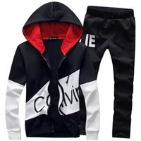 2019 New men brand sporting suit warm hooded tracksuit track...