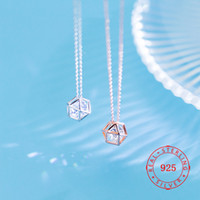 delicate cz charm S925 silver necklace female Korean single ...