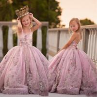 2020 princesa tirante de espagueti apliques de perlas niñas desfile de vestidos de cumpleaños de encaje de la espalda perlas largo vestido de baile de las muchachas de flor vestidos