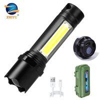 تشى يو البسيطة LED COB المحمولة التخييم أضواء العمل 3 طرق تكبير مصباح USB قابلة للشحن للماء التكتيكية ضوء فلاش