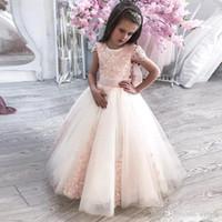 Vestidos para niñas de flores Gorra con mangas Pajarita Vestido para niños pequeños Plisado Falda de tul Hasta el suelo Vestidos de fiesta de graduación para niños