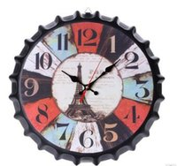 New Metal Iron Retro Wall Clock Creative Vintage Wine Bottle...