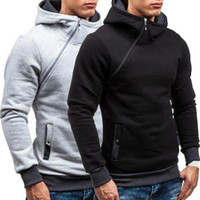 Designer Fashion Capuches plomb Hommes Casual solide Couleur Diagonale Zipper Sweat à capuche à capuche Sweat-shirt à capuche Sweat