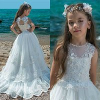 2019 White Lace Flower Girl Dresses For Weddings Jewel Neck ...