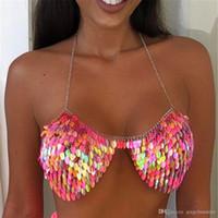 Coloré Sexy Lingerie Body Bijoux Boffres Bra Bikini pour Femme Beach Leaf