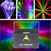 8 W RGB Animasyon Analog Modülasyon Lazer Aydınlatma Gösterisi / DMX ILDA Disko Işık Sahne Projektörü