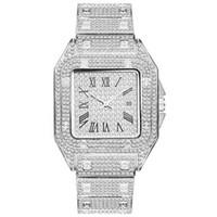 Горячие продажи Высокое качество Мужчины моды Часы сверкающих Алмазный Часы Полный Iced Out часы из нержавеющей стали кварцевый механизм партии Спорт Часы наручные