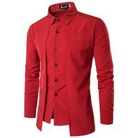 Printemps Hommes Faux 2 Pcs Chemises De Luxe Hommes Turn Down Col Chemises Designer De Mode À Manches Longues Hommes Vêtements