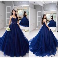 2021 Yeni Straplez Balo Balo Donanma Quinceanera Elbiseler Vintage Dantel Aplike Balo Örgün Tatlı 15 Parti Elbiseler Vestido de Fiesta